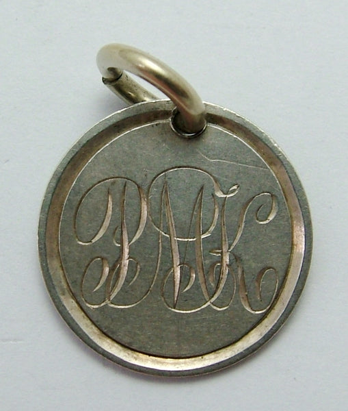 Antique Victorian Silver Engraved Love Token Coin Charm PMK Love Token - Sandy's Vintage Charms