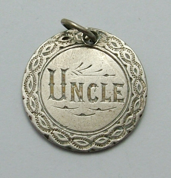 "Antique Victorian Silver Engraved Love Token Coin Charm ""UNCLE"" Love Token - Sandy's Vintage Charms"