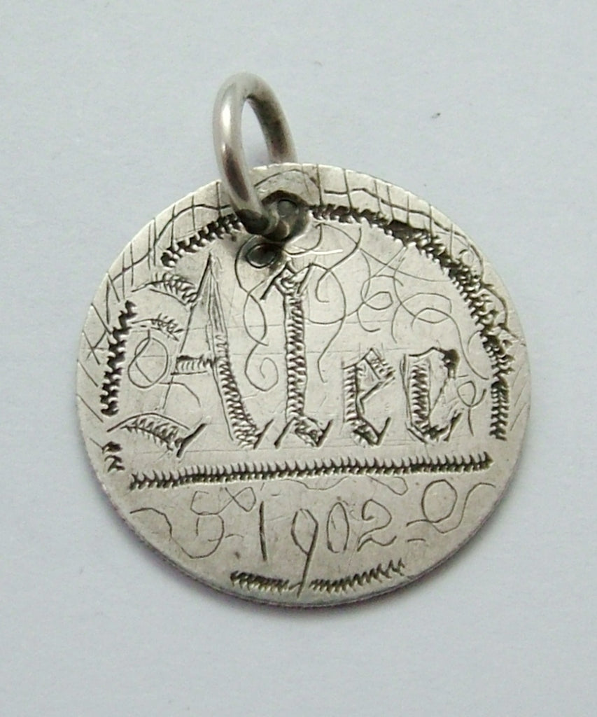 "Antique Victorian Silver Engraved Love Token Coin Charm ""ALEC 1902"" Love Token - Sandy's Vintage Charms"
