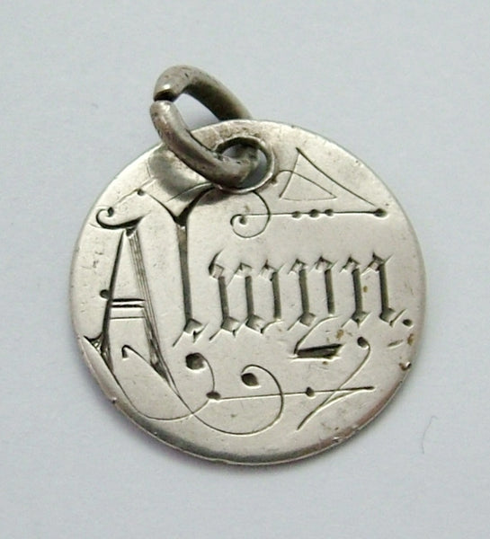 Antique Victorian Silver Engraved Love Token Coin Charm ALWYN Love Token - Sandy's Vintage Charms