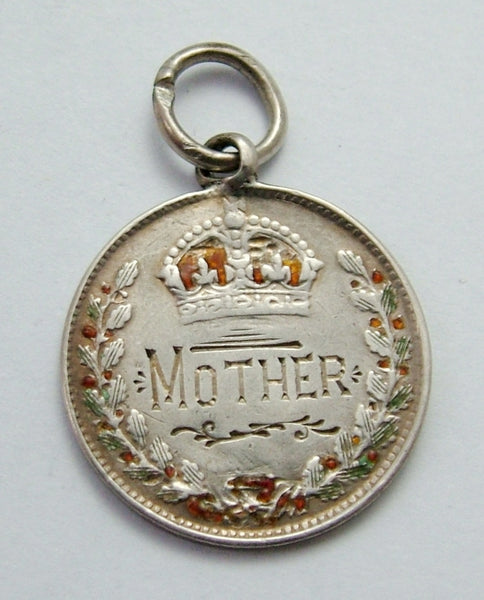 Antique Victorian Silver Engraved Love Token Coin Charm MOTHER Love Token - Sandy's Vintage Charms