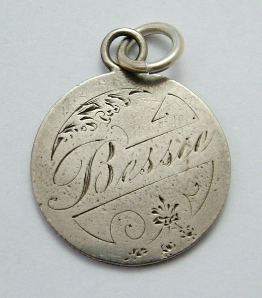 Antique Victorian Silver Engraved Love Token Coin Charm BESSIE Love Token - Sandy's Vintage Charms