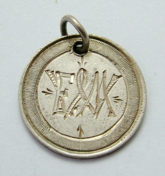 Antique Victorian Silver Engraved Love Token Coin Charm EWM Love Token - Sandy's Vintage Charms