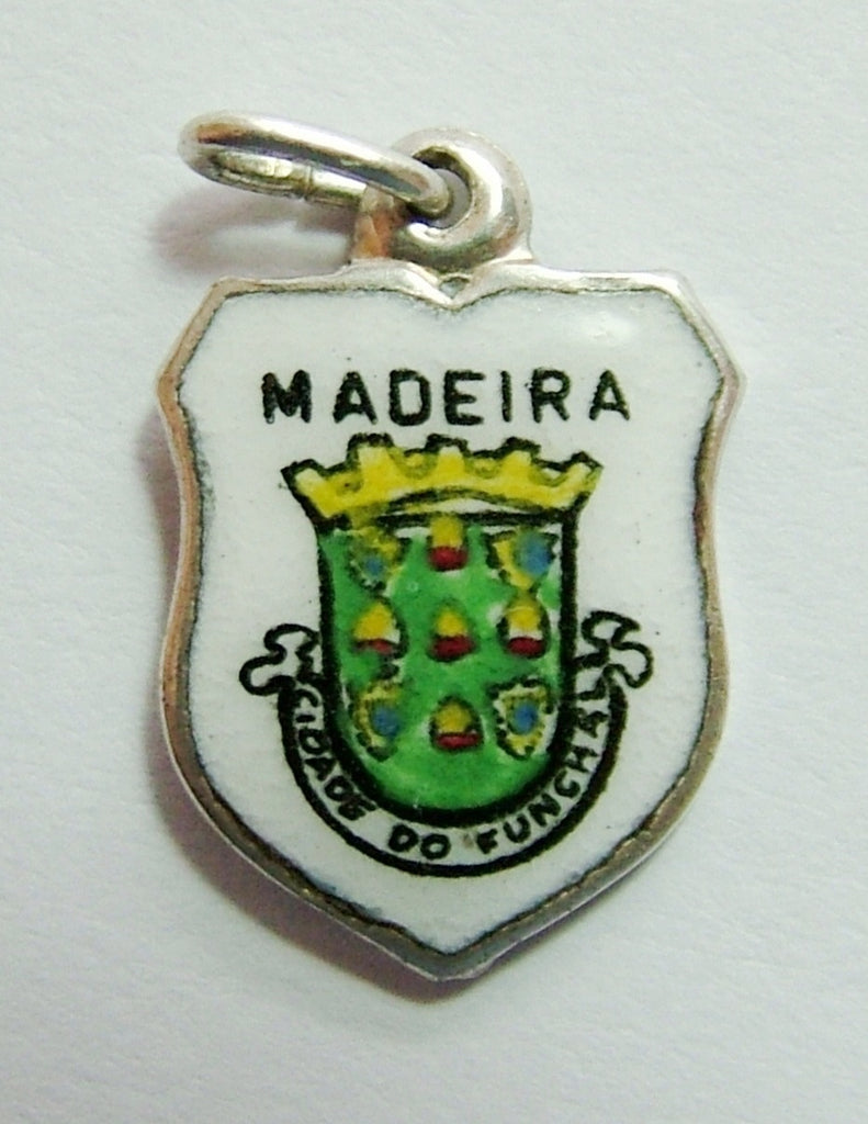 1960's Silver Plated & Enamel Shield Charm for MADEIRA Shield Charm - Sandy's Vintage Charms
