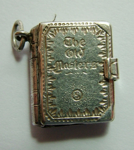 1960's Silver Opening 'The Old Masters' Book Charm Paper Pages Inside Silver Charm - Sandy's Vintage Charms