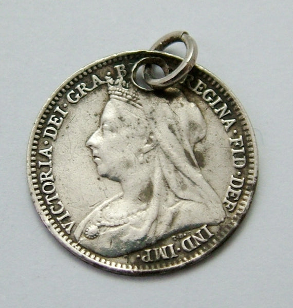 "Antique Victorian Silver Engraved Love Token Coin Charm ""H&G SOUTHPORT"" Love Token - Sandy's Vintage Charms"