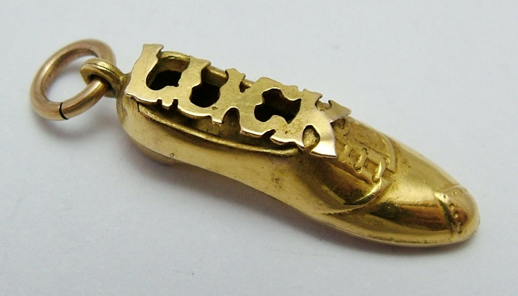 "Antique Edwardian c1905 Gold Plated Hollow ""LUCK"" Shoe Charm Antique Charm - Sandy's Vintage Charms"