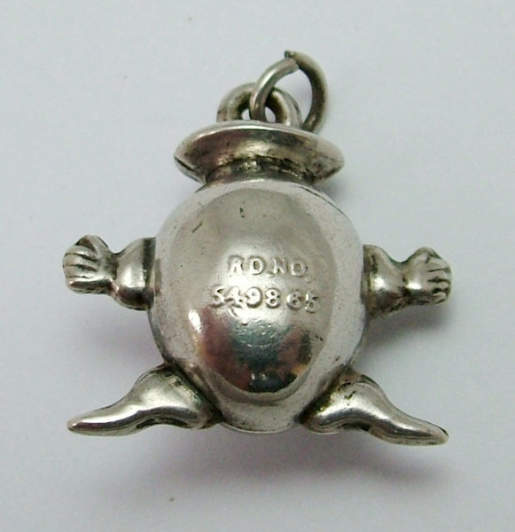 Antique Edwardian Puffed Silver Humpty Dumpty Egg Charm Antique Charm - Sandy's Vintage Charms