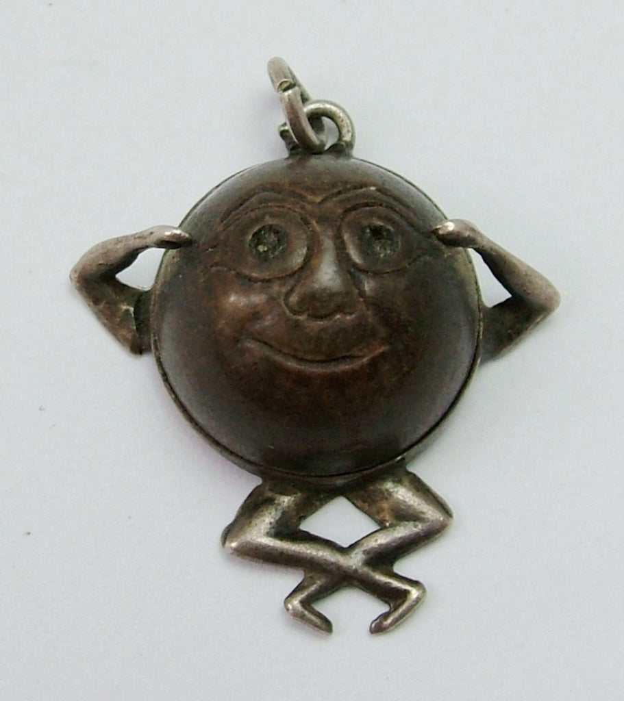 Antique WWI Silver & Wood 'Touch Wood' Charm with Locket Back Antique Charm - Sandy's Vintage Charms