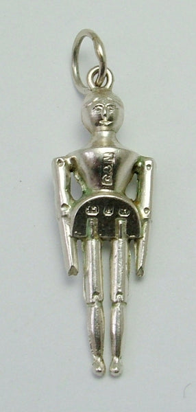 Antique Victorian Silver Hollow Wooden Doll Charm HM 1898 Antique Charm - Sandy's Vintage Charms