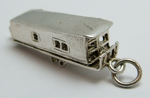 Vintage 1970's Silver Opening Static Caravan Charm with Furniture Inside Silver Charm - Sandy's Vintage Charms