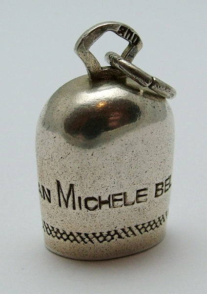 Large Vintage 1940's WWII Silver Lucky San Michele Bell Charm 1920s-1950s Charm - Sandy's Vintage Charms