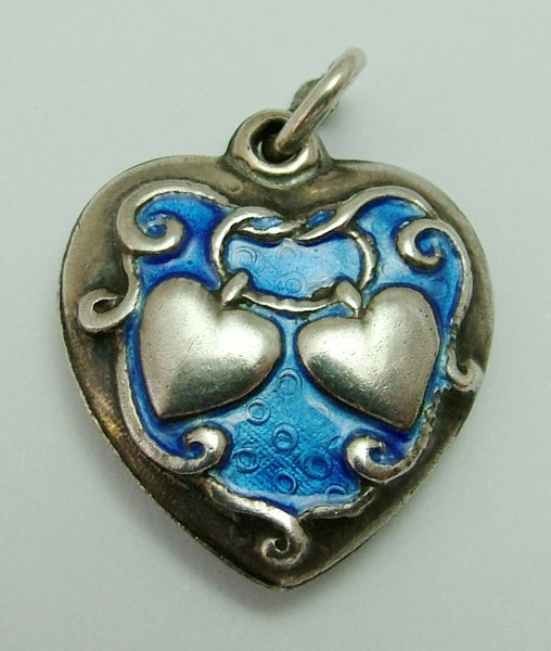 Vintage 1940's American Silver & Blue Enamel Puffy Heart Charm by Walter Lampl Enamel Charm - Sandy's Vintage Charms
