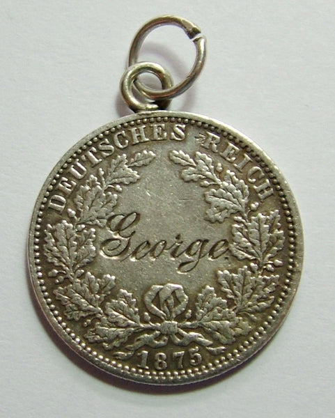 Antique Victorian German 1875 Silver Engraved Love Token Coin Charm GEORGE Love Token - Sandy's Vintage Charms