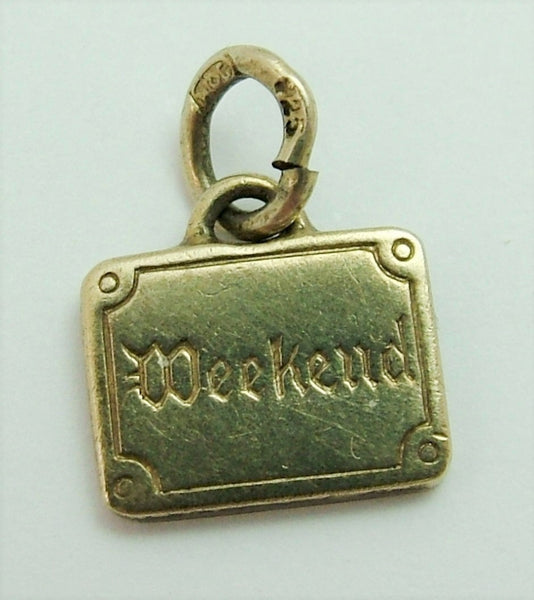 "Vintage 1920's Silver Gilt ""WEEKEND"" Suitcase Charm 1920s-1950s Charm - Sandy's Vintage Charms"