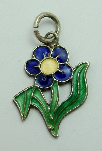 Vintage 1960's Silver & Enamel Forget me Not Flower Charm Enamel Charm - Sandy's Vintage Charms