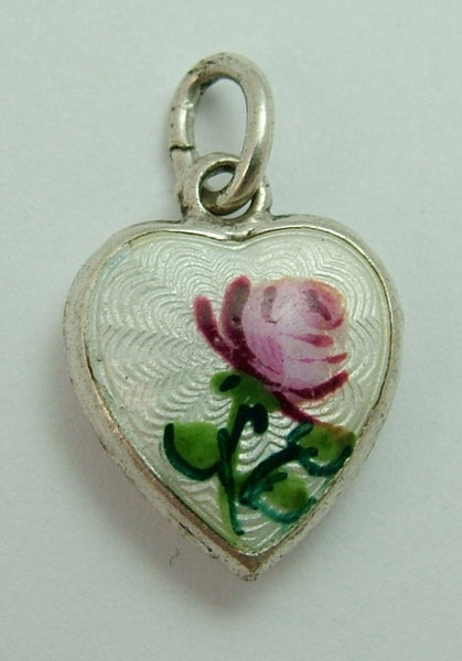 Small Vintage 1950's Silver & Enamel Puffy Heart Charm with Pink Rose Decoration Enamel Charm - Sandy's Vintage Charms