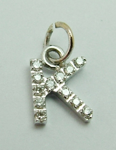 "Modern Secondhand Solid 18k 18ct White Gold & Diamond Letter ""K"" Charm Gold Charm - Sandy's Vintage Charms"