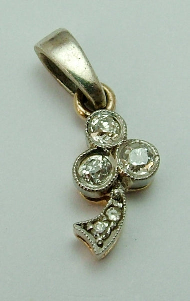 Vintage Art Deco 1930's 18ct 18k Gold & Diamond Clover or Shamrock Charm