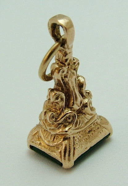 Vintage 1980's 9ct Gold Fob Seal Charm With Green Agate Matrix Gold Charm - Sandy's Vintage Charms