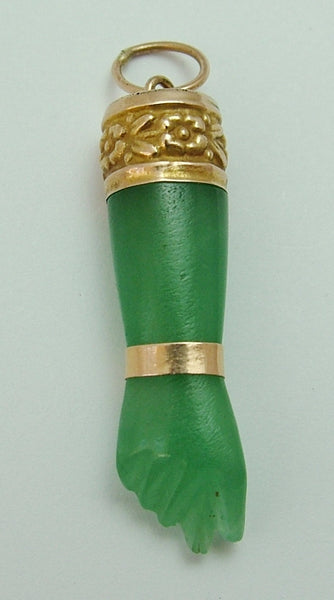 Vintage 1970's 9ct Gold & Carved Green Jade Figa Hand Charm Gold Charm - Sandy's Vintage Charms