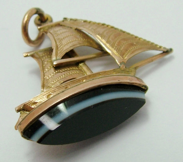 Antique Victorian c1900 10ct Gold Sailing Yacht Fob Seal Charm With Banded Agate Base Antique Charm - Sandy's Vintage Charms