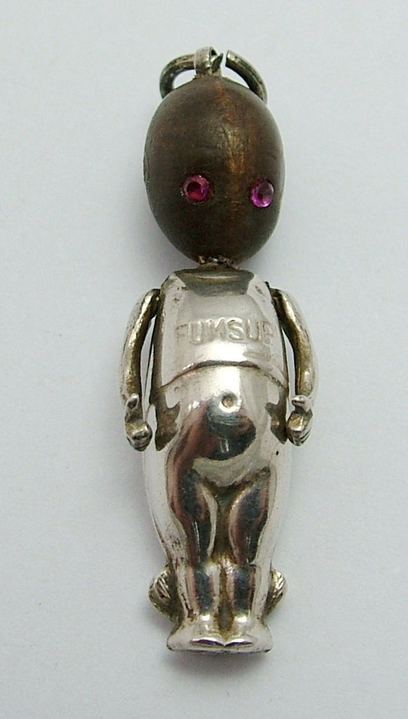 Antique WWI Silver & Wooden Fumsup Touch Wood Charm with Ruby Eyes Antique Charm - Sandy's Vintage Charms