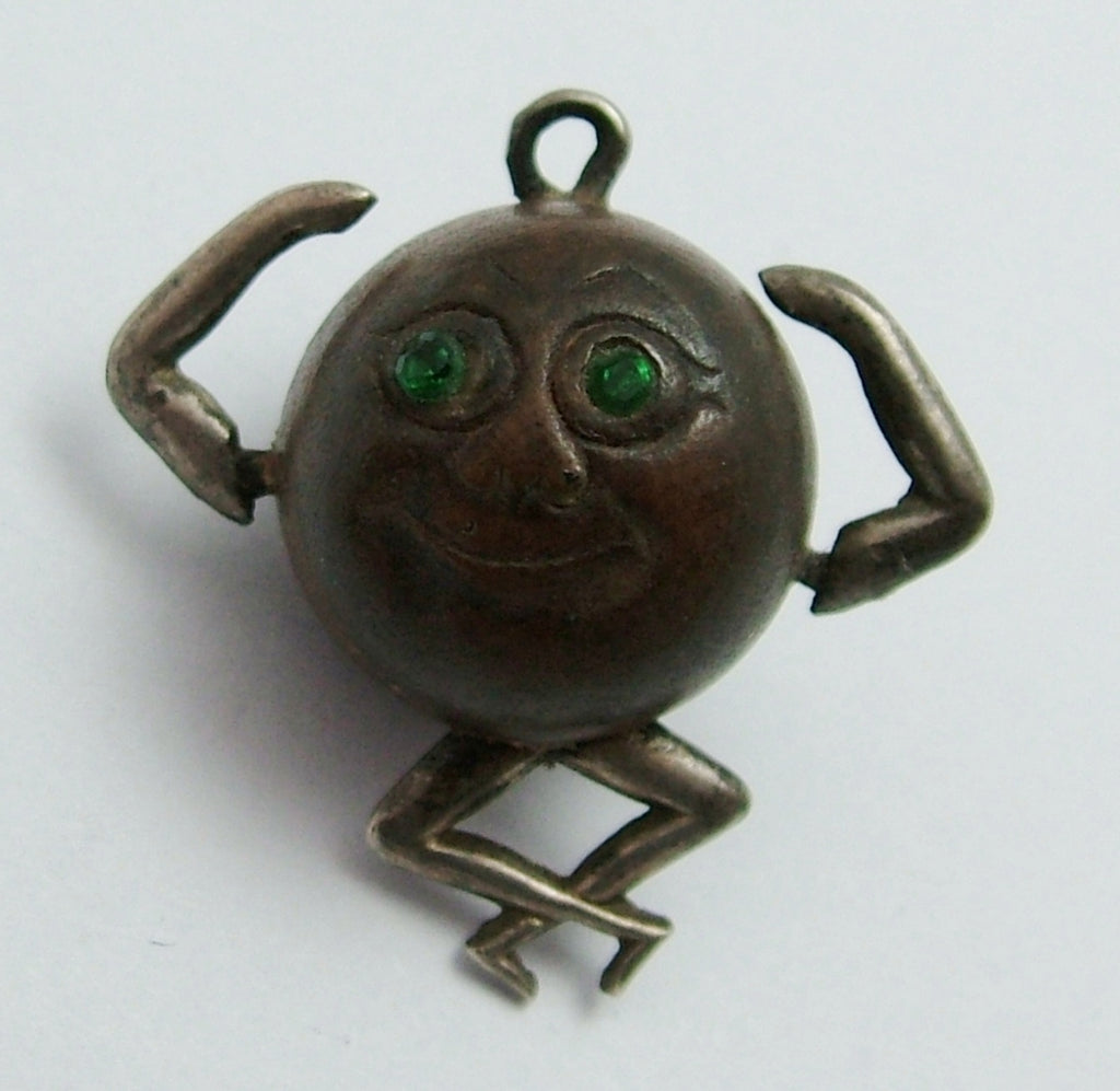 "Antique WWI Silver & Wood ""Touch Wood"" Figure Charm with Green Eyes Antique Charm - Sandy's Vintage Charms"