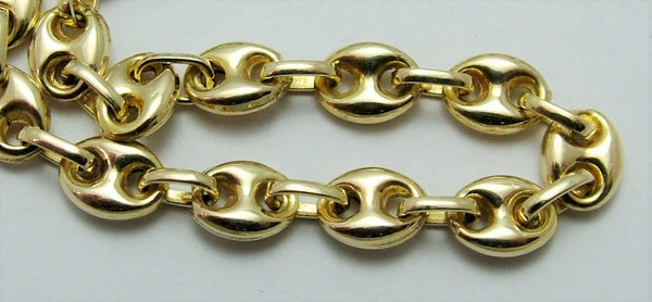 Vintage 1990's Solid 14k 14ct Yellow Gold Anchor Link Bracelet with Lobster Clasp Bracelet - Sandy's Vintage Charms