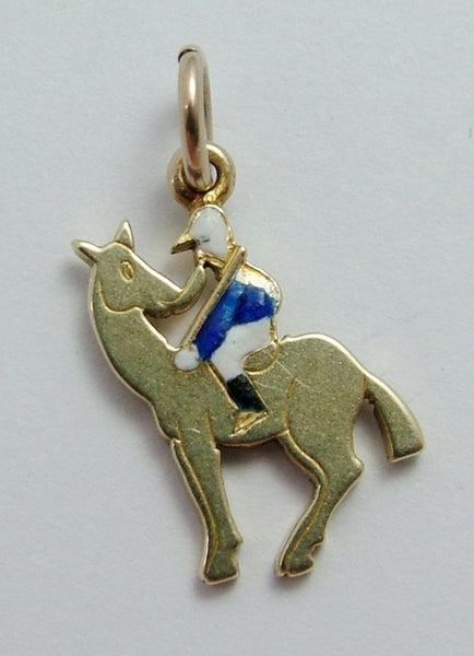 Vintage 1920's/1930's 14k 14ct Gold & Enamel Jockey & Racehorse Charm Gold Charm - Sandy's Vintage Charms