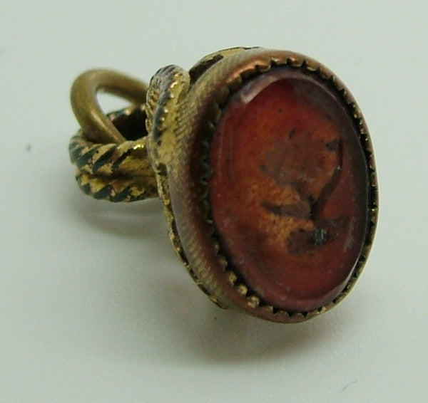 Victorian Gilt Metal Fob Seal Charm with Amber Glass Flower Seal Antique Charm - Sandy's Vintage Charms