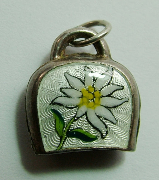 1950's Silver & Guilloche Enamel Cow Bell Charm with Edelweiss Flower Design (Large Size) Enamel Charm - Sandy's Vintage Charms