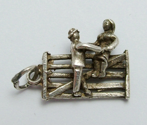Vintage 1960's Silver Charm Couple Sitting on a Five Bar Gate Silver Charm - Sandy's Vintage Charms