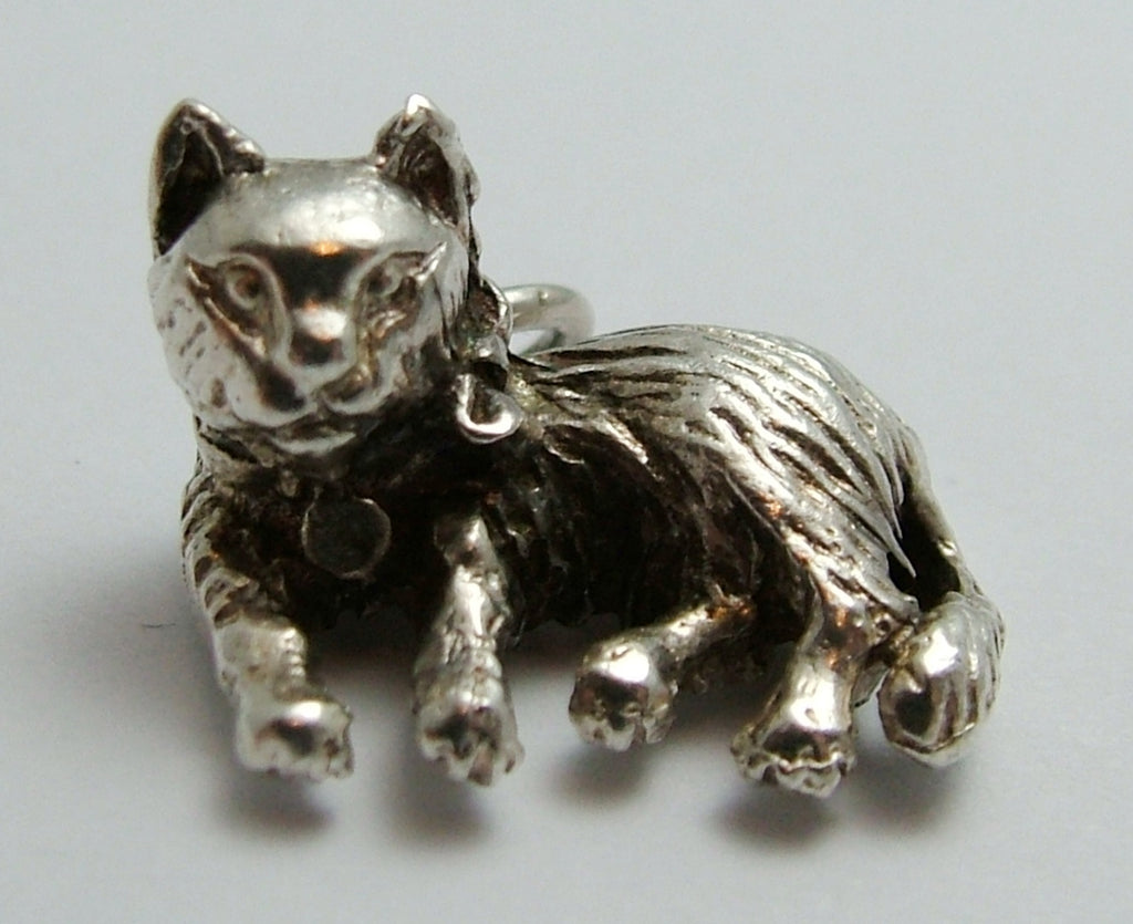 Vintage 1970's Solid Silver Laying Down Cat Charm Silver Charm - Sandy's Vintage Charms