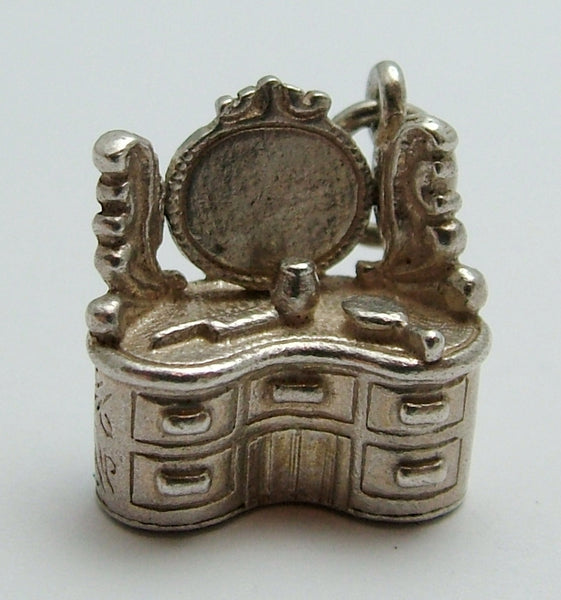 Vintage 1960's Silver Nuvo Dressing Table Charm with Moving Mirror Nuvo Charm - Sandy's Vintage Charms