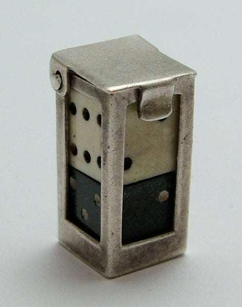 Vintage 1960's Silver Box Charm with Two Fully Removable Dice Inside Silver Charm - Sandy's Vintage Charms