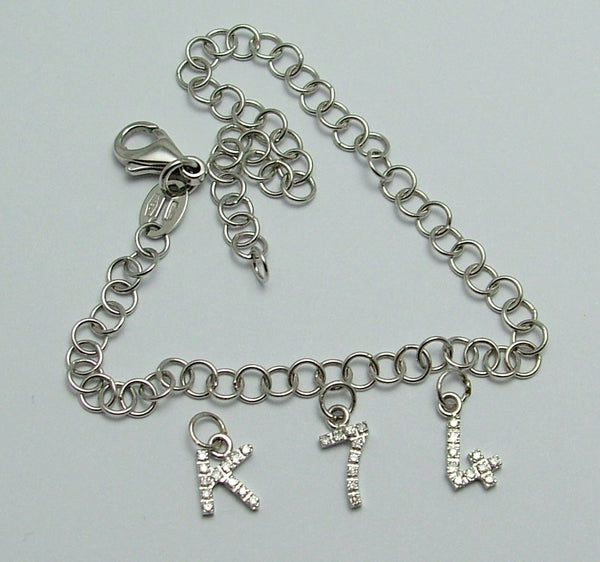 "Modern Secondhand Solid 18k 18ct White Gold & Diamond Number ""4"" Charm Gold Charm - Sandy's Vintage Charms"