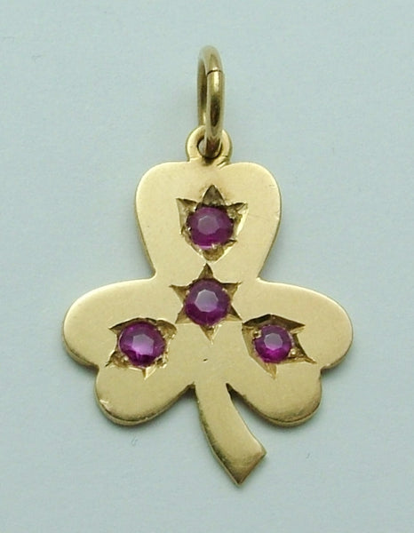 Vintage 1950's Solid 18ct Gold & Ruby Clover or Shamrock Charm