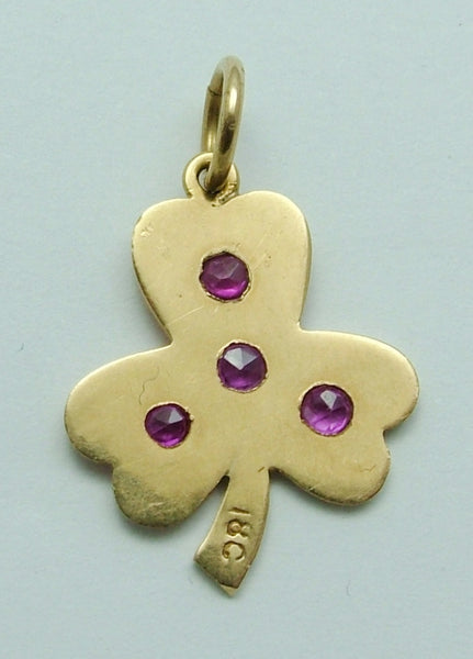 Vintage 1950's Solid 18ct Gold & Ruby Clover or Shamrock Charm Gold Charm - Sandy's Vintage Charms