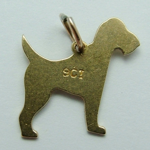 Antique Edwardian c1905 9ct Gold Flat Engraved Terrier Dog Charm Antique Charm - Sandy's Vintage Charms