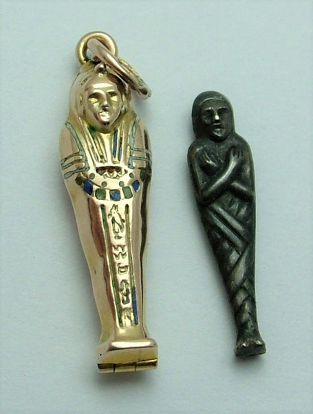 Vintage 1920's/30's 9ct Gold & Enamel Opening Sarcophagus Charm Mummy Inside 1920s-1950s Charm - Sandy's Vintage Charms