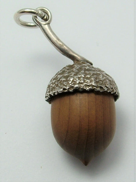Large Vintage 1970's Silver & Wood Acorn Charm - Touch Wood HM 1978
