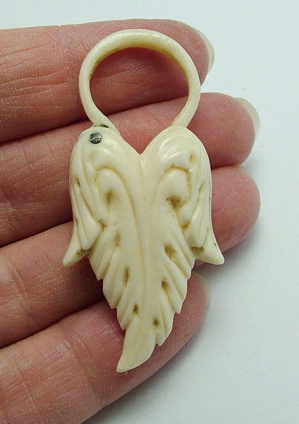 Antique Victorian c1900 Carved Bone Padlock Fastener or Charm - Pair of Angel Wings Antique Charm - Sandy's Vintage Charms