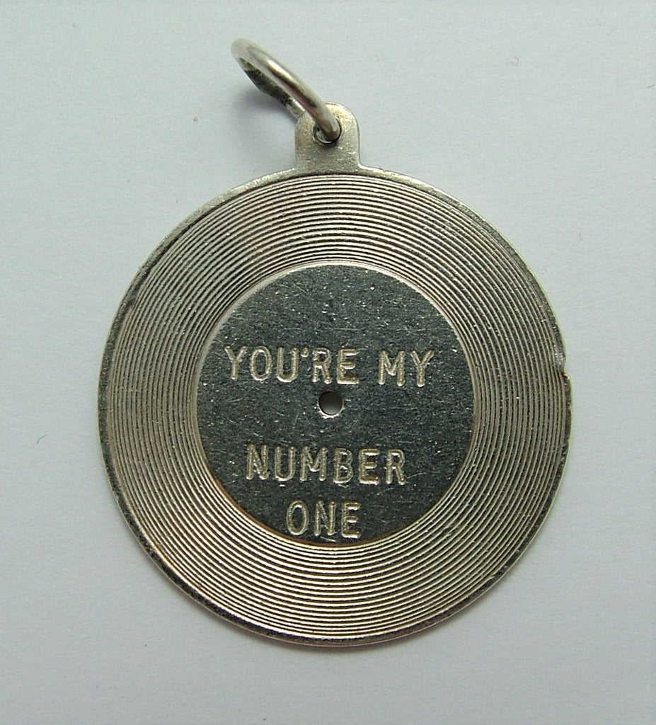 "Vintage 1960's Solid Silver Record Charm ""You're My Number One"" Silver Charm - Sandy's Vintage Charms"