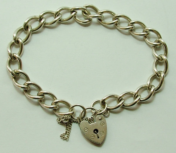 Vintage 1980's English Silver Padlock Bracelet 8 Inches Long & 22.8g Bracelet - Sandy's Vintage Charms