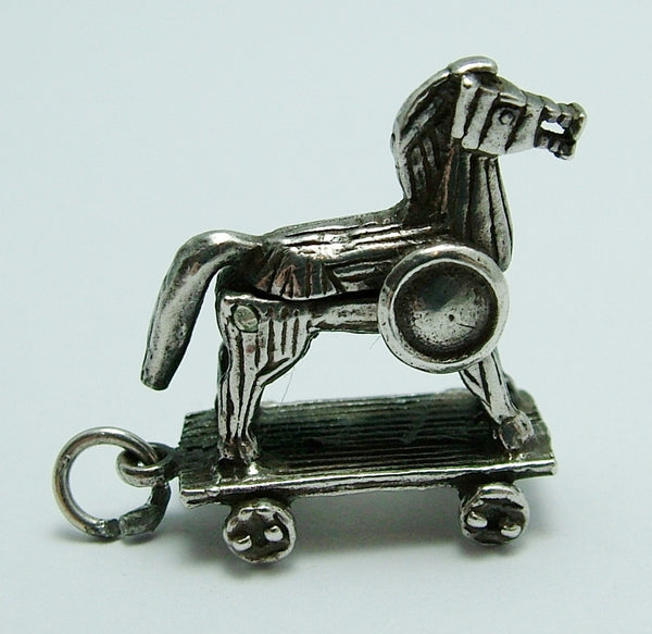 Vintage 1970's Silver Opening Trojan Horse Charm Soldiers Inside Silver Charm - Sandy's Vintage Charms