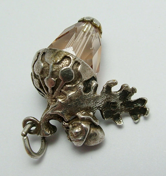 Vintage 1960's Nuvo Silver & Brown Crystal Acorn Charm Nuvo Charm - Sandy's Vintage Charms