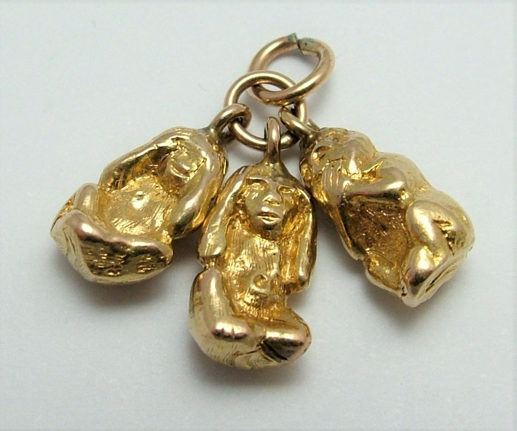 Vintage 1930's/40's Solid 14ct 14k Gold Three Wise Monkeys Charm Gold Charm - Sandy's Vintage Charms