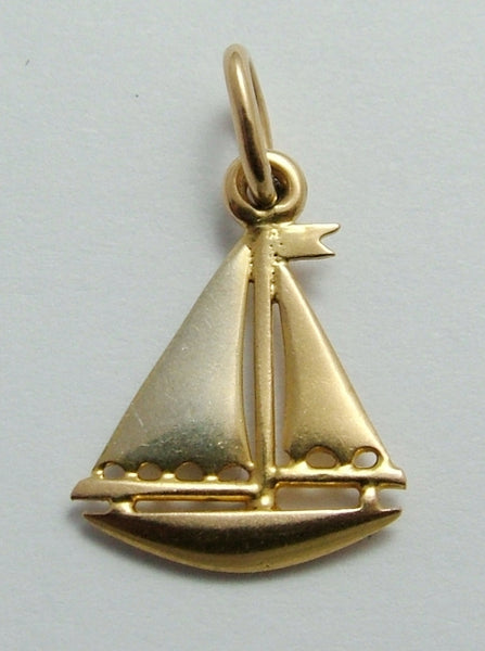 Vintage 1930's Two Colour 18k 18ct Gold Sailing Yacht Charm Gold Charm - Sandy's Vintage Charms