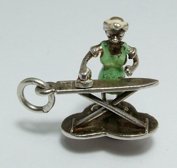 Vintage 1970's Silver Moving Nuvo Charm of a Lady Ironing RARE Nuvo Charm - Sandy's Vintage Charms